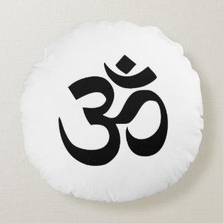 Om Namah Shivaya Aum Shanti Aum Om Symbol ॐ Peace Round Pillow