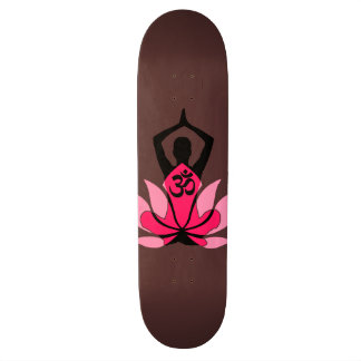 OM Namaste Spiritual Lotus Flower Yoga in Umber Skateboard Deck