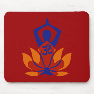 OM Namaste Spiritual Lotus Flower Yoga on Crimson Mouse Pad