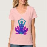 OM Namaste Spiritual Lotus Flower Yoga on Teal T Shirt