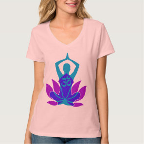 OM Namaste Spiritual Lotus Flower Yoga on Teal T-Shirt