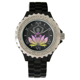 OM Namaste Spiritual Lotus Flower Yoga Pose Dial Wristwatch
