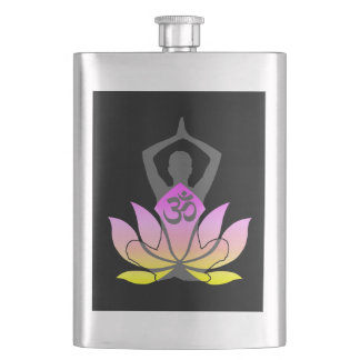 OM Namaste Spiritual Lotus Flower Yoga Pose Hip Flask