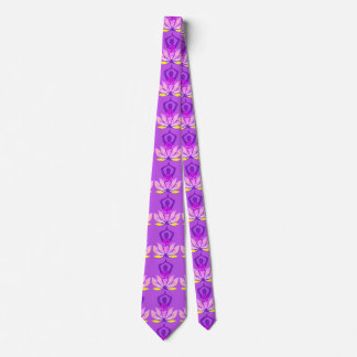 OM Namaste Spiritual Lotus Flower Yoga Pose Neck Tie