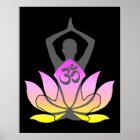 OM Namaste Spiritual Lotus Flower Yoga Pose Poster