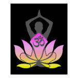 OM Namaste Spiritual Lotus Flower Yoga Pose Posters
