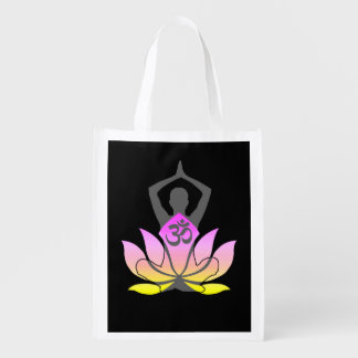OM Namaste Spiritual Lotus Flower Yoga Pose Reusable Grocery Bag