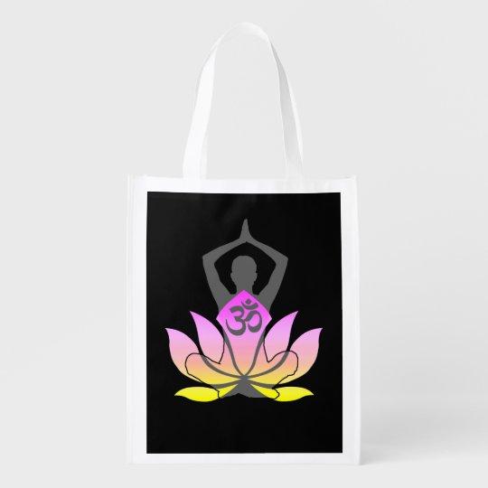 Om Namaste Spiritual Lotus Flower Yoga Pose Reusable Grocery Bag