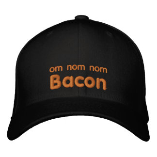 OM NOM NOM BACON Love Embroidered Baseball Cap