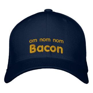 OM NOM NOM BACON Love Embroidered Baseball Hat