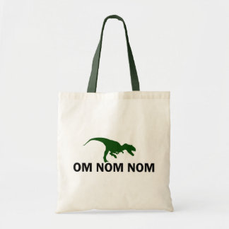Om Nom Nom Dinosaur Rawr is Hungry Tote Bag