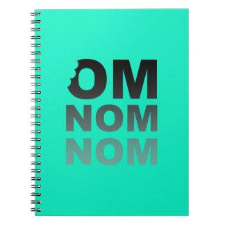 Om Nom Nom - Food-Lovers Favorite, Gray and Teal Notebook