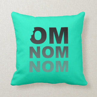 Om Nom Nom - Food-Lovers Favorite Gray and Teal Throw Pillow