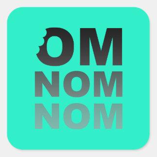 Om Nom Nom - Food-Lovers Favorite, Gray and Teal Square Sticker