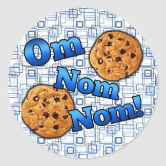 OM Nom Nom, galletas del amor de Meme Pegatina Redonda