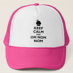 Trucker Hat with Keep Calm and Om Nom Nom design