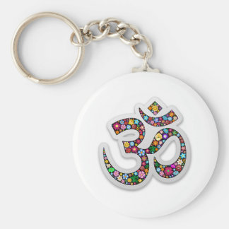 Om Ohm Aum Namaste Yoga Symbol Basic Round Button Keychain