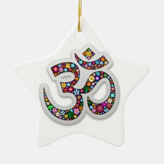 Om Ohm Aum Namaste Yoga Symbol Ceramic Ornament
