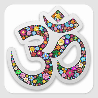 Om Ohm Aum Namaste Yoga Symbol Square Sticker