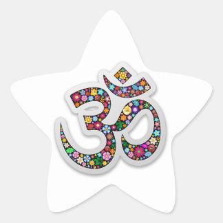 Om Ohm Aum Namaste Yoga Symbol Star Sticker