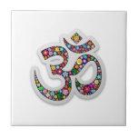 """Om Ohm Aum Namaste Yoga Symbol Tile<br><div class=""""desc"""">Ohm Aum Namaste Yoga Symbol Floral Art Design</div>"""