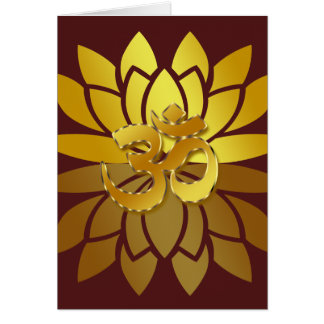 OM Omkara and Gold Colored Lotus Flower Card