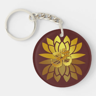 OM Omkara and Gold Colored Lotus Flower Keychain
