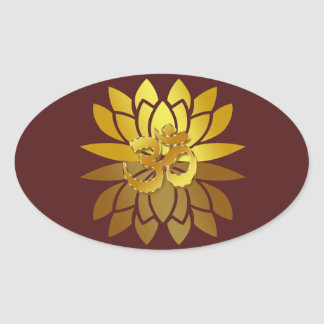 OM Omkara and Gold Colored Lotus Flower Oval Sticker