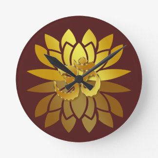 OM Omkara and Gold Colored Lotus Flower Round Clocks