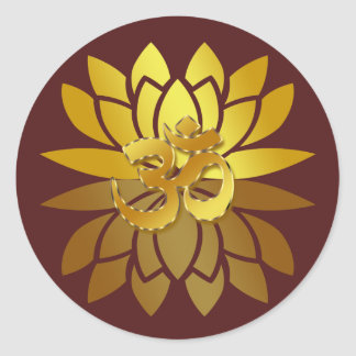 OM Omkara and Gold Colored Lotus Flower Classic Round Sticker