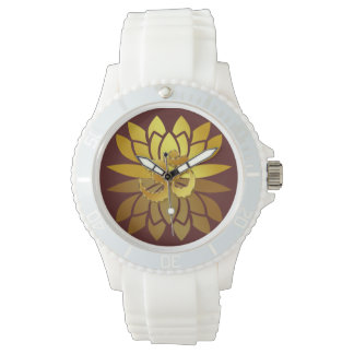 OM Omkara and Gold Colored Lotus Flower Wristwatch