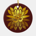 OM Omkara y flor de Lotus coloreada oro Ornamentos De Reyes Magos