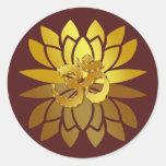 OM Omkara y flor de Lotus coloreada oro Pegatina Redonda