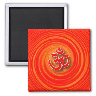 Om On Twirl Background 2 Inch Square Magnet