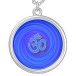 Om On Twirl Background Round Pendant Necklace