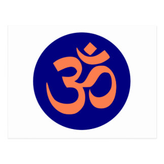 Om or Aum symbol in navy blue and coral color Postcard