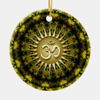 OM Organic Tapestry Circle Ceramic Ornament