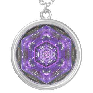 OM Purple Mandala Round Pendant Necklace