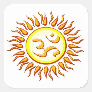 OM radiante Sun Pegatina Cuadrada