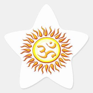 OM radiante Sun Pegatina En Forma De Estrella