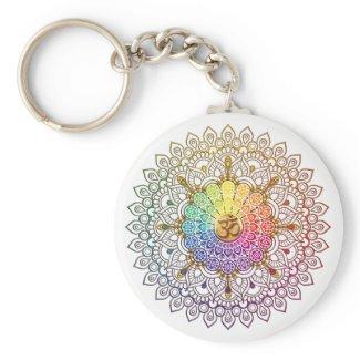 Om Rainbow Mandala Keychain