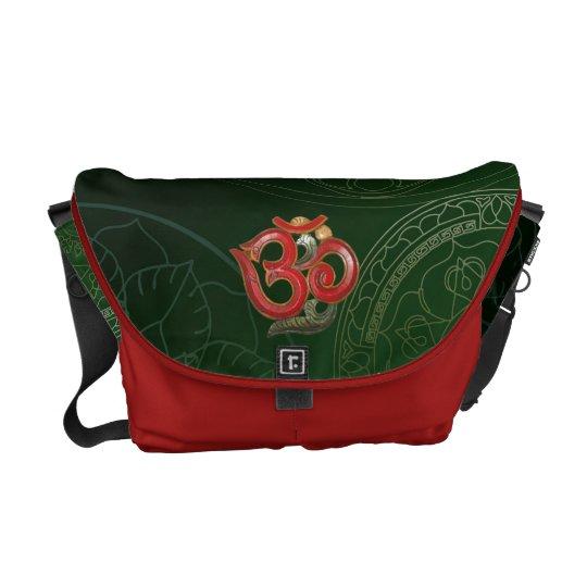 OM red green messenger courier bag