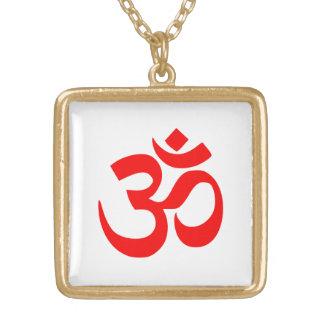 Om Shanti Om Aum Namah Shivay Omkara Pranav Symbol Gold Plated Necklace