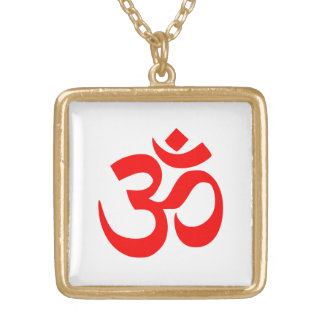 Om Shanti Om Aum Namah Shivay Omkara Pranav Symbol Square Pendant Necklace