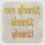 om shanti, shanti, shanti square sticker
