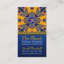 Om Shanti Yoga Orange Blue Business Cards