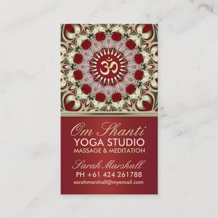 Om Shanti Yoga Studio Business Card Zazzle Com