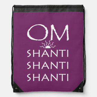 OM-Shanti-Yoga/White Text Design Drawstring Bag
