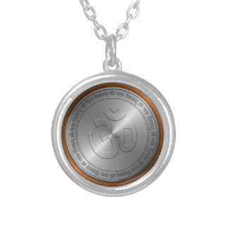 Om Sign Embossed on Metallic Coin Round Pendant Necklace
