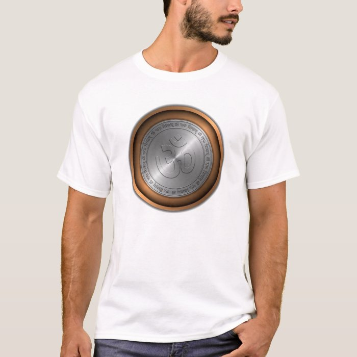 Om Sign Embossed on Metallic Coin T-Shirt